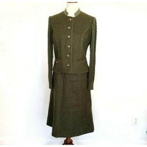 Geiger Austria Wool Green Jacket Skirt Suit  6